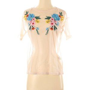 Zara W&B Collection Short Sleeve Sheer Blouse